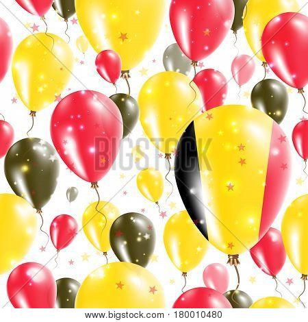 Belgium Independence Day Seamless Pattern. Flying Rubber Balloons In Colors Of The Belgian Flag. Hap