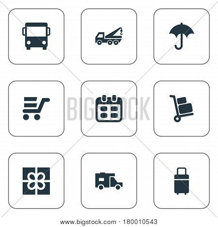 Vector Illustration Set Of Simple Carting Icons. Elements Gingham, Day, Pushcart And Other Synonyms Eviction, Ribbon And Autobus.