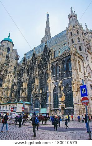 People And St Stephen Cathedral In Stephansplatz In Vienna