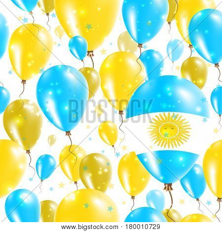 Argentina Independence Day Seamless Pattern. Flying Rubber Balloons In Colors Of The Argentinean Fla