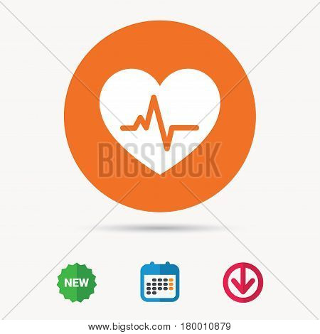 Heartbeat icon. Cardiology symbol. Medical pressure sign. Calendar, download arrow and new tag signs. Colored flat web icons. Vector