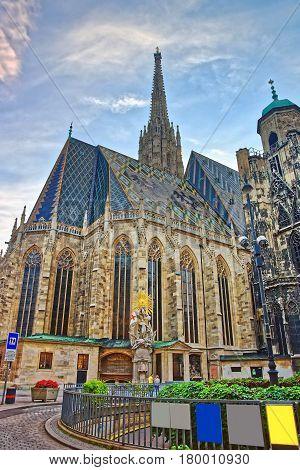 St Stephen Cathedral In Stephansplatz In Vienna