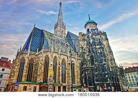 St Stephen Cathedral On Stephansplatz In Vienna