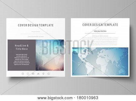 The minimalistic vector illustration of the editable layout of two square format covers design templates for brochure, flyer, booklet. Polygonal geometric linear texture. Global network, dig data concept.