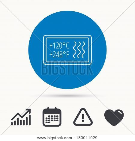 Heat resistant icon. Microwave or dishwasher information sign. Attention symbol. Calendar, attention sign and growth chart. Button with web icon. Vector