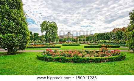 Volksgarten Or People Garden With Empress Elizabeth Monument Vienna