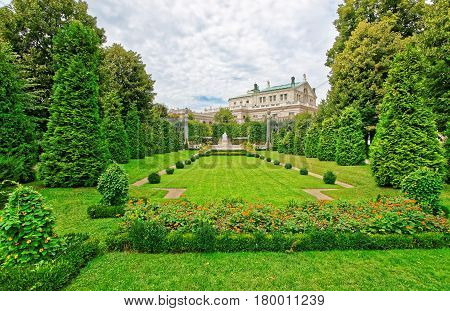 Volksgarten Or People Garden With Empress Elizabeth Monument Of Vienna