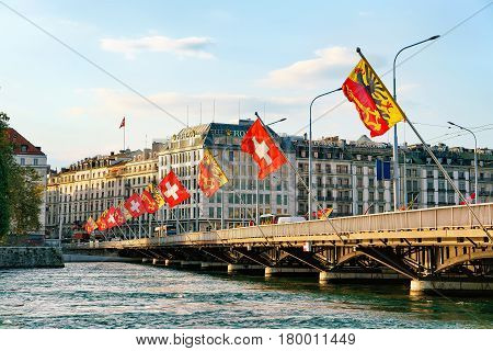 Geneva Lake And Mont Blanc Bridge Flags Geneva Swiss