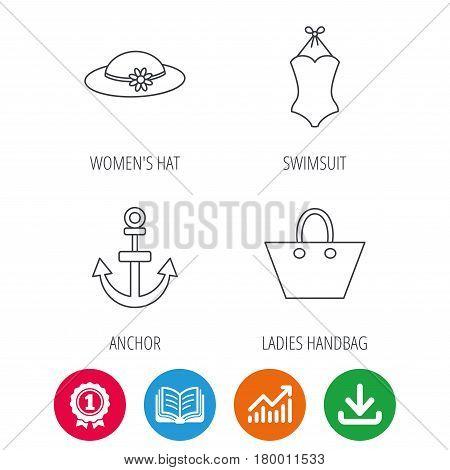 Anchor, ladies handbag and swimsuit icons. Swimsuit linear sign. Award medal, growth chart and opened book web icons. Download arrow. Vector