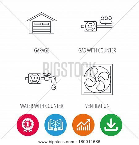 Ventilation, garage and water counter icons. Gas counter linear sign. Award medal, growth chart and opened book web icons. Download arrow. Vector