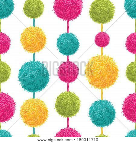 Vector Fun Colorful Decorative Hanging Pompoms Seamless Repeat Pattern. Great for handmade cards, invitations, wallpaper, packaging, nursery designs. Surface pattern design.