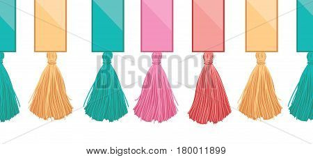 Vector Ribbons With Long Hanging Decorative Tassels Set Horizontal Seamless Repeat Border Pattern. Great for handmade cards, invitations, wallpaper, packaging, nursery designs. Surface pattern design.