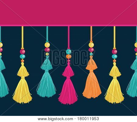 Vector Colorful Trim Decorative Tassels, Beads, And Ropes Horizontal Seamless Repeat Border Pattern. Great for handmade cards, invitations, wallpaper, packaging, nursery designs. Surface pattern design.