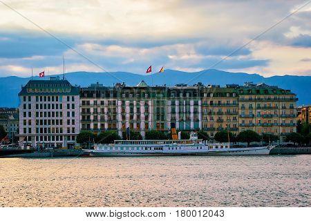 Ferry At Geneva Lake Geneva Switzerland
