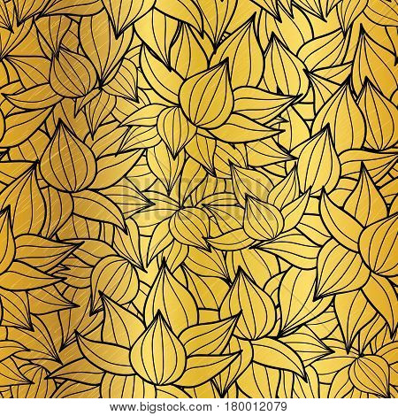 Vector gold and black succulent plant texture drawing seamless pattern background. Great for subtle, botanical, modern backgrounds, fabric, scrapbooking, packaging, invitations. Repeat pattern design.