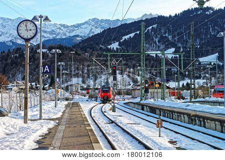 High Speed Train In Garmisch Partenkirchen Germany