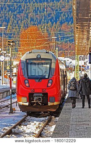 Passengers In High Speed Train At Garmisch Partenkirchen