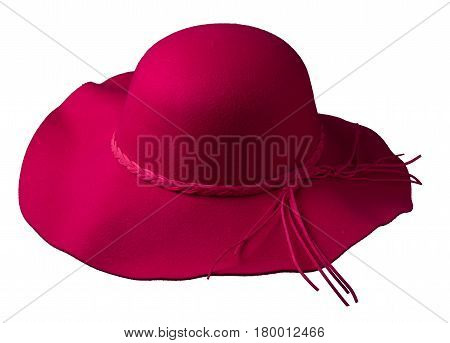 Fedora Hat Isolated On White Background .red Hat Woman Hat