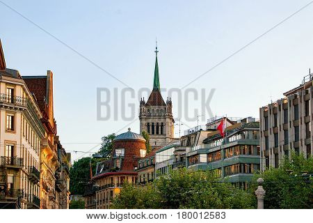 Street And Tower Of St Pierre Cathedral Of Geneva Switzerland