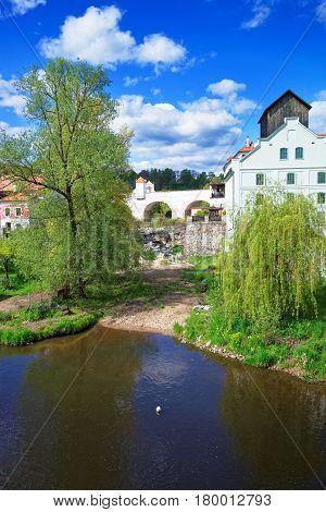 Arch Bridge And Vltava River In Cesky Krumlov