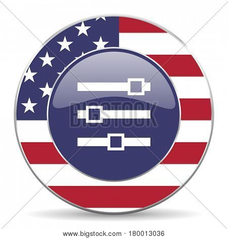 Slider usa design web american round internet icon with shadow on white background.