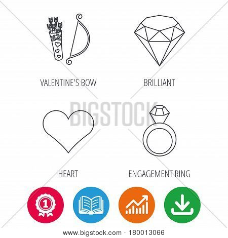 Love heart, brilliant and engagement ring icons. Valentine bow linear sign. Award medal, growth chart and opened book web icons. Download arrow. Vector