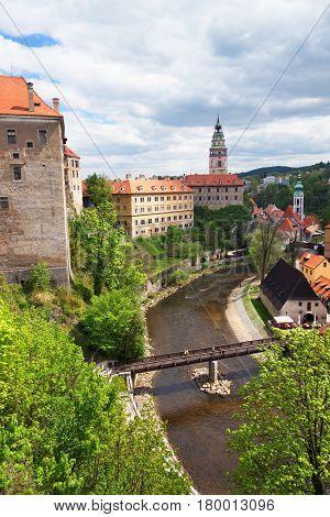 Cesky Krumlov Castle With Bend Of Vltava River