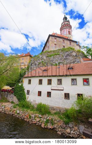 Cesky Krumlov Castle With Bend Of Vltava