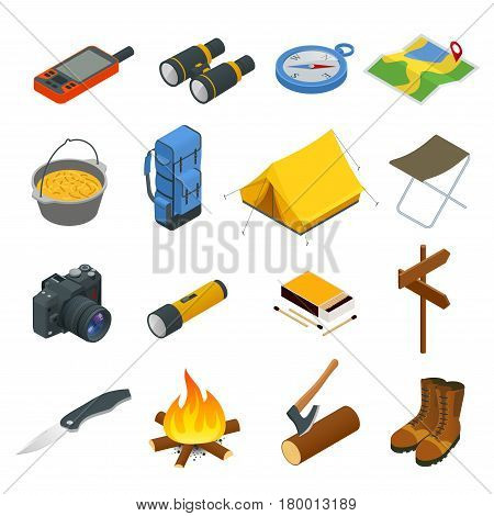 Hiking icons set. Camping equipment vector collection. Binoculars, bowl, barbecue, boat, lantern, shoes, hat, tent, campfire. Base camp gear and accessories Camping icon set Hike outdoor elements