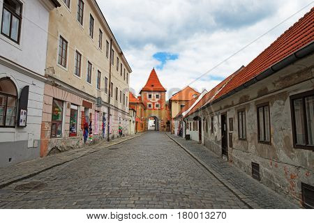 Entrance Tower Gate Into Old City Of Cesky Krumlov