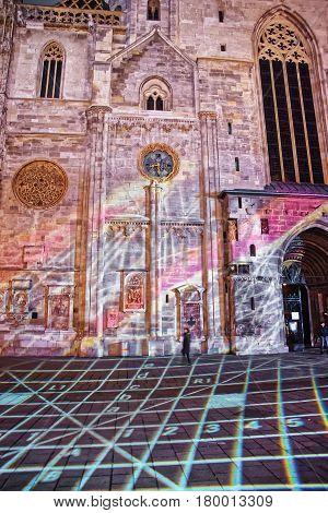 Laser Show At St Stephen Cathedral In Stephansplatz In Vienna