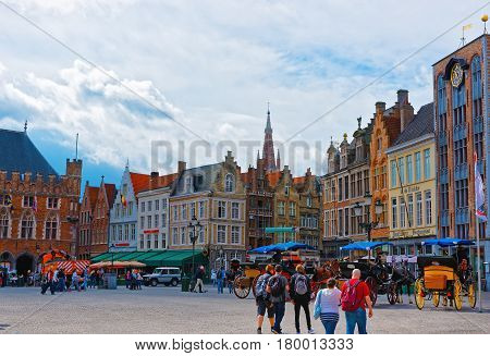 Market Square In Old City Of Brugge