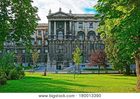 National Library Of Hofburg Palace In Vienna And People