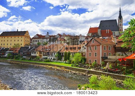 Old City Center With Saint Vitus Church In Cesky Krumlov