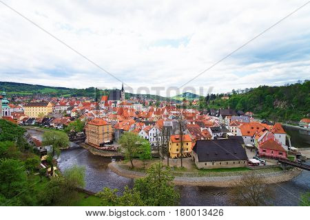 Old City Center With St Vitus Church In Cesky Krumlov