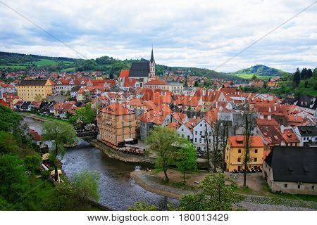 Old City Center With St Vitus Church Of Cesky Krumlov