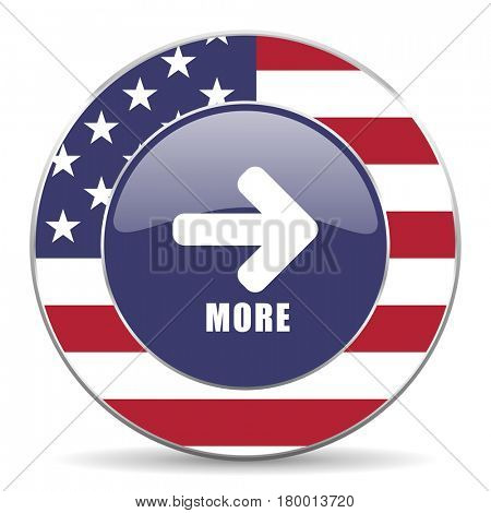More usa design web american round internet icon with shadow on white background.