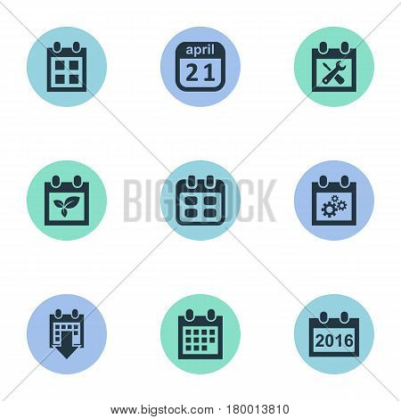 Vector Illustration Set Of Simple Date Icons. Elements Plant, 2016 Calendar, Reminder And Other Synonyms Repair, Reminder And Almanac.
