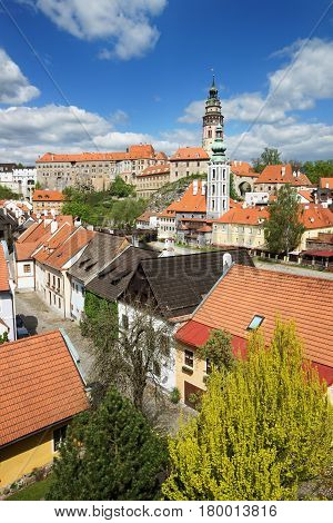 Roof Tile View Of State Castle In Cesky Krumlov