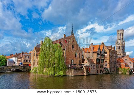 Rozenhoedkaai Canal In Medieval Old Town Of Brugge