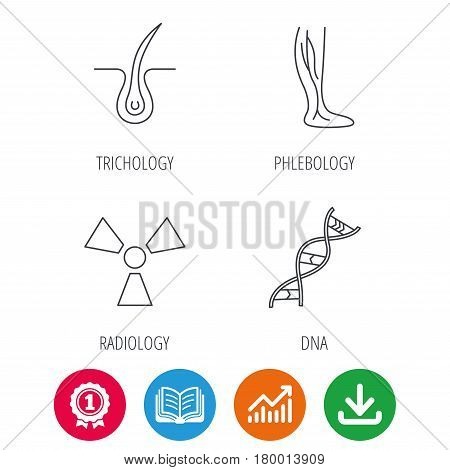 Phlebology, trichology and DNA icons. Radiology linear sign. Award medal, growth chart and opened book web icons. Download arrow. Vector