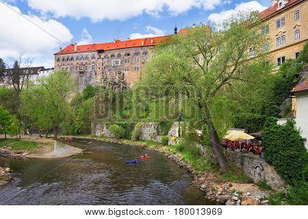 State Castle And Vltava River In Cesky Krumlov