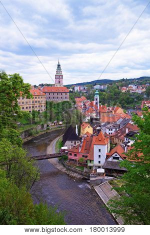 State Castle With Bend Of Vltava River In Cesky Krumlov