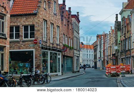 Street In Medieval Old City Of Brugge