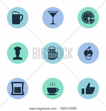Vector Illustration Set Of Simple Food Icons. Elements Gastronomy, Wineglass, Beer And Other Synonyms Favorite, Chef And Muffin.