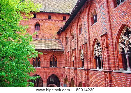 Architecture of Malbork Castle also called as Marienburg Teutonic Order in Pomerania Poland.