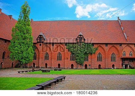 Architecture of Malbork Castle also called as Marienburg Teutonic Order in Pomerania in Poland.