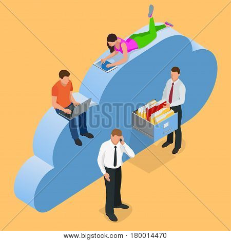 Mobile devices connected on a cloud data storage. Cloud storage concept. Protected cloud storage via smartphone, tablet, laptop Data storage on servers in cloud. Flat 3d isometric vector illustration