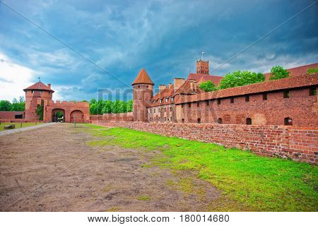 Malbork, Poland - May 8 2014: One of the Entrances into Malbork Castle also called as Marienburg Teutonic Order in Pomerania of Poland.