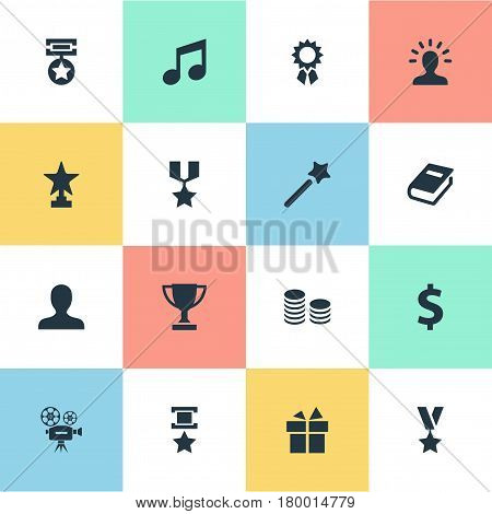 Vector Illustration Set Of Simple Champ Icons. Elements Miracle, Literature, User And Other Synonyms Champion, Trophy And Prize.
